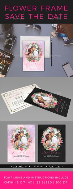 Flower Frame Save the Date Postcard - #Weddings #Cards & #Invites Download here: https://graphicriver.net/item/flower-frame-save-the-date-postcard/20090279?ref=alena994