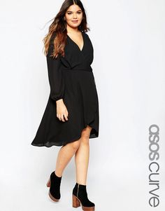 Image 1 of ASOS CURVE Midi Dress with 70's Blouson Sleeve and Wrap Front