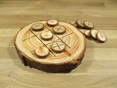 Natural Rustic Wooden Tic Tac Toe or Noughts and Crosses Game. on Etsy, $16.83 AUD