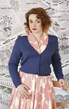 [A+C] Susan Crawford's Princess Twinset cardigan. Cropped, v-neck.