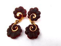 Vintage Dark Brown Purple Dangling Earrings by VillaCollezione