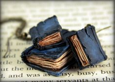 Beloved Book Necklace and Earrings Set, jewelry, handmade polymer clay.