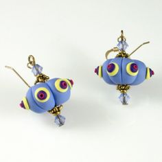 Lavender Pumpkin Bead Earrings Polymer Clay by KateTractonDesigns, $24.00