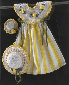 PA963 Yellow Rose Oven Door Dress Crochet Pattern-The oven door crochet dress is not just a dress hanging from your oven door handle. The crochet dress bodice attaches to a kitchen towel to give this piece a cute, yet practical purpose. There are also a patterns for a coordinating potholder and fridge magnet. Skill Level: Easy