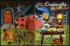 Walt Disney's Cinderella: A Big Golden Book, published 1950.  Illustrations by Retta Scott Worcester.  I remember reading this book over and over at my grandparents' house.  This site shows all of the beautiful retro illustrations from the book! | House of Retro