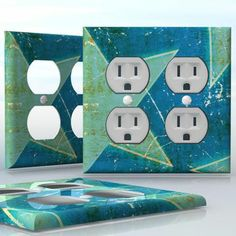 DIY Do It Yourself Home Decor - Easy to apply wall plate wraps | Painted Star-way  Blue and yellow old style paint pattern  wallplate skin sticker for 2 Gang Wall Socket Duplex Receptacle | On SALE now only $4.95