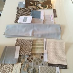 Light blue (linen velvet?) Jasper fabric; Adjacent living and family room schemes coming together for a house in Scarsdale #mcgrath2 #interiordesign #tgif