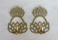Pair Brass Wall Candle Holder Sconces - Set of 2 - Cutout Gold Colored Metal Vintage - Pineapple - Wall Mounted with Patina - Taper Candles on Etsy, $19.99