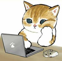 Kitten Drawing, Cute Cat Drawing, Cute Kawaii Drawings, Cute Animal Drawings, Kawaii Doodles, Cute Little Kittens, Cats And Kittens, Cute Cats, Anime Chibi