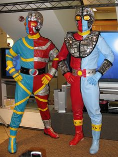 These amazing costumes were fabricated by Layne Luna, a professional artist from Hilo. The only exception is the Kikaida helmet, which was purchased directly from Toei Studios.