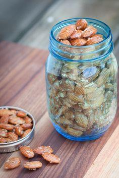 Maple Coconut Almonds in a pretty jar