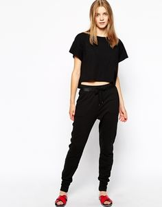 Enlarge Vila Jersey Pants With Leather Look Detail