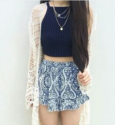 Blue halter top and printed shorts
