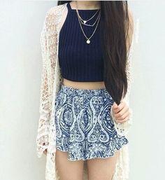 Blue halter top and printed shorts