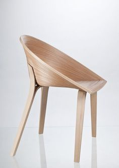 Tamashii, a dining chair inspired by a Japanese veneer technique called Bunaco, designed by Czech industrial design student Anna