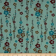 Jersey Knit Floral Blue from @fabricdotcom  This lightweight jersey knit fabric has a soft hand and about 30% stretch across the grain. This fabric is perfect for creating stylish tops, tanks, lounge wear, gathered skirts and fuller dresses.
