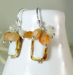 Czech Glass, Peach Moonstone, Mystic Corundum Gemstone silver dangle earrings – Sara Nolte Designs