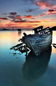 "♂ Aged with beauty Sunset beach ""Broken Boat"" by Ade Rinaldi"