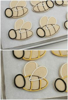 New cupcakes easter decoration cookie tutorials 15 ideas Bee Cookies, Fancy Cookies, Cut Out Cookies, Easter Cookies, Cupcake Cookies, Cookies Et Biscuits, Cookie Favors, Flower Cookies, Heart Cookies