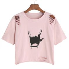 Shop Gesture Print Ripped Crop T-shirt online. SheIn offers Gesture Print Ripped Crop T-shirt more to fit your fashionable needs. T-shirt Diy Fashion, Teen Fashion, Fashion Outfits, Fashion Ideas, Fashion Black, Vintage Fashion, Ootd Fashion, Fashion 2017, Fashion Clothes