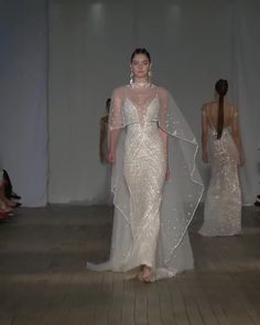Stunning Embroidered Slip Mermaid Wedding Dress / Bridal Gown with Deep V-Neck Cut, Spaghetti Straps, Open Back, a Cape and a Train. New York Runway Show by Berta Desi Wedding Dresses, Western Wedding Dresses, Bridal Dresses, Wedding Gowns, Wedding Dress Cape, Lace Weddings, Couture Dresses, Fashion Dresses, Collection Couture