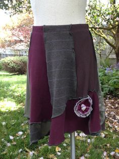 Upcycled Recycled Skirt Cotton Asymmetrical by danamurphydesigns, $45.00