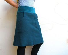 "Gorgeous ""petrol"" boiled wool skirt. Custom."
