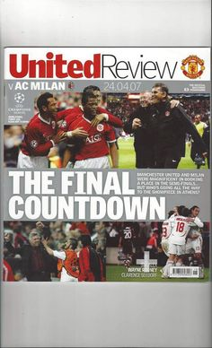 Manchester United Old Trafford, Football Program, Man United, Ac Milan, Champions League, The Unit, Baseball Cards, Manchester United