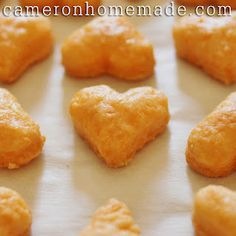 like goldfish..but hearts... and homemade... i will do another shape... Adrian will refuse to eat hearts lol