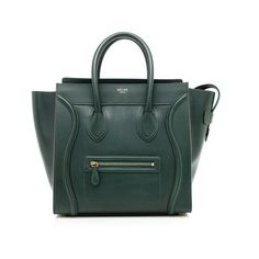 Pre-Owned Celine Palmelato Calfskin Mini Luggage Tote (€2.365) ❤ liked on Polyvore featuring bags, handbags, tote bags, green, green tote, zippered tote bag, celine purse, zip tote and green tote bag