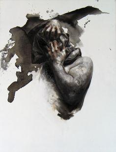 """Xavier Jallais - """"Automorphie (sac gris"""" - Wood coal, ash, sand, acrylic & oil on canvas, 89 x 116 (cm) New Art, Oil On Canvas, Lion Sculpture, Statue, Portrait, Ash, Painting, Artists, Wood"""