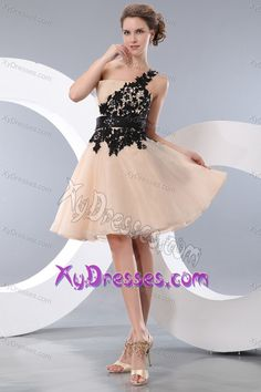 One Shoulder Mini-length Champagne Organza Prom Cocktail Dress with Black Appliques
