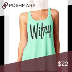 Wifey Mint Tank Top This top is really soft.  It is made of 96% Rayon & 4% Spandex. Tops Tank Tops