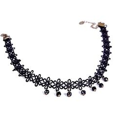 Victoria Echo Womens Floral Lace Choker Collar Necklace Accented with Black Gem Pendant by Victoria Echo -- Awesome products selected by Anna Churchill