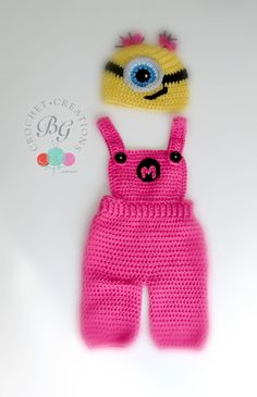 Ready to Ship Baby Girl Minion Overalls-Crochet Minion Outfit- Handmade Newborn Costume by BGCrochetCreations on Etsy