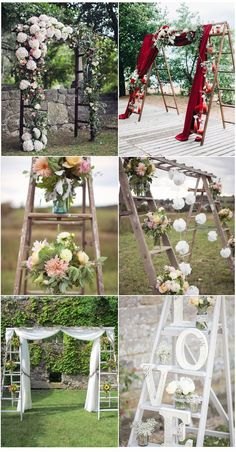 25 perfect wedding decoration ideas with vintage ladders rustic ladder inspired wedding arch decorations for outdoor wedding ideas junglespirit Gallery