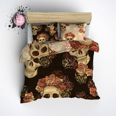 Reversible Featherweight Skull Bedding Sugar Skull by InkandRags