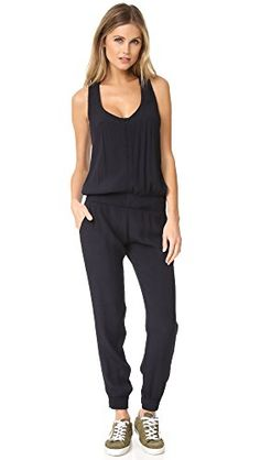 MONROW Women's Crepe Basics Jumpsuit Neptune Medium