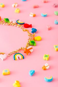 Accessorize on St. Patrick's Day with a DIY Lucky Charms charm bracelet.