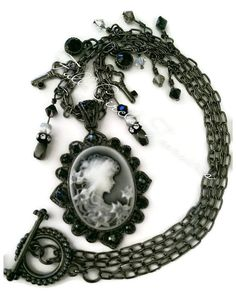 """Antiqued cameo necklace, vintage style, steampunk, Gift for her, Victorian, Metaphysical, Goth, Hematite, Haunting, 20"""" Cameo necklace"""