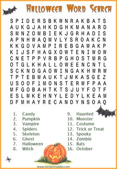 Halloween Word Search  Printable Fun for Kids  Pinterest