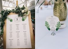 Tropical Victorian Themed Wedding / seating plan and table stationery