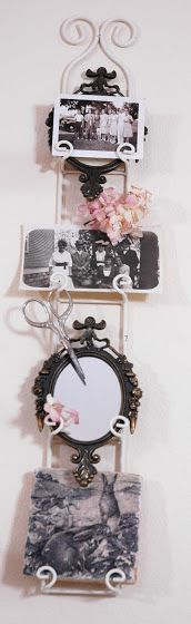 Like how she's used her plate rack: mirror, photos, etc.. Everything except a plate - great idea!