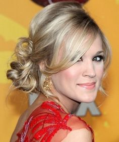 "wedding hair - messy side ponytail/bun is a little more ""me"" than pincurls..."