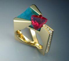 18k Pink Tourmaline diamond and by Metamorphosisjewelry on Etsy