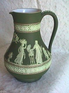 OLIVE DIP WEDGWOOD JASPERWARE PITCHER. Looks tri-color. 7 1/4 inches tall. Wedgwood England.