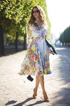 "Kentucky Derby Party dress?? Ece Sukan, vintage Floral Dress. This girl's like, "" Oh no big deal. I'm Parisian so my classiness comes naturally."" It must be a hard life for her.;)"