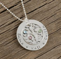 Family Tree Necklace with Birthstones  Sterling by divinestampings, $69.00