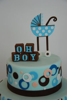 """Idea for Cake Top """"OH BOY"""" blocks in colors of cake"""