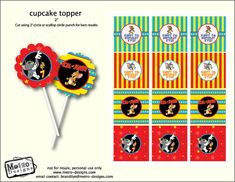 Tom and Jerry - Cupcake Toppers/Favor tags